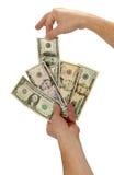 Domestica anziana del gioco con valuta americana Fotografie Stock