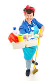 Domestica con i prodotti di pulizia Immagini Stock