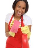 Domestica graziosa che lava con la spugna Fotografia Stock