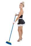 Domestica sexy con la scopa Immagine Stock