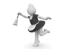 Domestica sveglia sul lavoro - operai Fotografie Stock Libere da Diritti