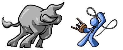 Domesticando o touro ilustração stock