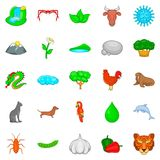 Domesticated animal icons set, cartoon style Stock Photography