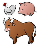 Domesticated Animal Set. A set of three commonly domesticated animals, the chicken, pig and cow, with inspiration from Chinese art styles Stock Photography