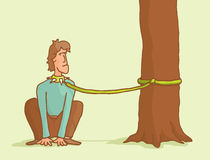 Domesticated man sitting down like a dog. Cartoon illustration of a man tied to a tree like a dog Royalty Free Stock Photography