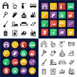 Domestique All dans les icônes une noires et la conception plate de couleur blanche à main levée réglée Images libres de droits