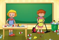 Domestique Cleaning Dirty Classroom illustration de vecteur