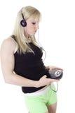 Domestique o exercício com música Imagem de Stock