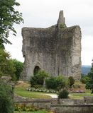 Domfront Castle. Ville  France Normandy  village architecture Europe landmark grass flowers ruin broken dilapidated France chateau Stock Photography