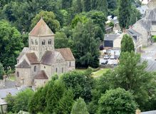 Domfront church. Church old architecture trees green domfront France  Europe landmark Normandy historic Stock Image