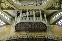 Domfront, Pays d`Alençon, Normandy, France. The inside of the church tower , built in neo-Byzantine style, between 1924 and 1926, by the architect Albert royalty free stock image