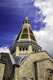 Domfront, Pays d`Alençon, Normandy, France. The tower of the church, built in neo-Byzantine style, between 1924 and 1926, by the architect Albert Guilbert royalty free stock photos