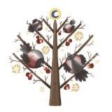 Domherre på ett träd stock illustrationer