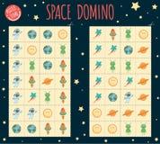 Dominó do espaço para crianças ilustração royalty free