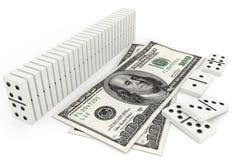 Dominó na fileira e nas cem contas de dólar Imagem de Stock Royalty Free