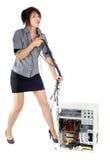 Dominação do computador da mulher Foto de Stock