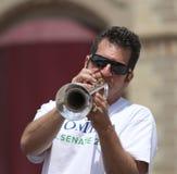 Domina para el hombre que toca la trompeta del senado de Estados Unidos en un desfile en la pequeña ciudad América foto de archivo