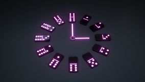 Domina Uprawia hazard Zegarowego pojęcie Z Neonowymi purpur światłami Odizolowywającymi Na Czarnym tle - 3D ilustracja ilustracji