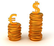 Dominance of USA Dollar over Euro Royalty Free Stock Photography