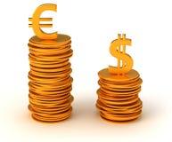 Dominancy del dinero en circulación - dólar americano y euro Fotos de archivo