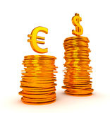 Dominancy del dinero en circulación de dólar americano sobre euro Imágenes de archivo libres de regalías