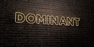 DOMINANT -Realistic Neon Sign on Brick Wall background - 3D rendered royalty free stock image Stock Images