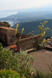 Dominant sight. From the top of the taormina village, east of sicily in italy Stock Photography