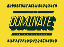 Dominate font 3d slanted colorful style. Cool typeface. Modern alphabet trend typography for party poster, t shirt, promotion, label, special offer. Vector Stock Image