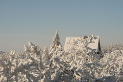 Domination of the winter. Snow cover the village, frozen roofs and forest Stock Images