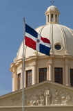 Domincan Republic National Flag and Palace Royalty Free Stock Image