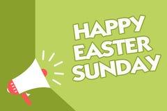 Domingo de Páscoa feliz do texto da escrita da palavra O conceito do negócio para cumprimentar alguém sobre a mola dos feriados é ilustração do vetor