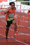 Dominic Berger - 110 metres hurdles race in Prague Stock Images