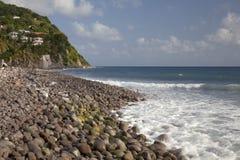 Dominica--Atlantische kant, zuideneind Stock Foto