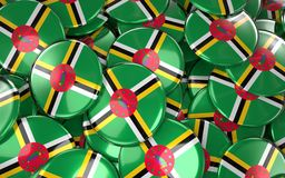 Dominica Badges Background - Stapel van Dominicaanse Vlagknopen Royalty-vrije Stock Foto's