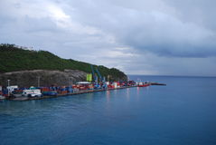 Dominica. The Caribbean island of Dominica under a cloudy sky stock images