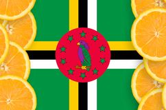 Dominica flag in citrus fruit slices vertical frame royalty free stock image