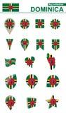 Dominica Flag Collection Grand ensemble pour la conception illustration de vecteur