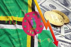 Dominica flag and cryptocurrency falling trend with two bitcoins on dollar bills. Concept of depreciation Bitcoin in price against the dollar stock photos