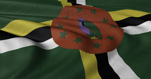 Dominica Flag. North American Dominica flag fluttering in strong wind Stock Photography