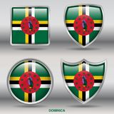 Dominica Flag in 4 shapes collection with clipping path stock photo