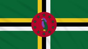 Dominica flag waving cloth background, loop. Commonwealth of Dominica flag waving cloth, ideal for background, loop stock footage