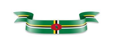 Dominica-Flagge in Form von Wellenband lizenzfreie abbildung