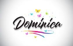 Dominica Handwritten Vetora Word Text com borboletas e Swoosh colorido ilustração stock
