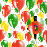 Dominica Independence Day Seamless Pattern. Flying Rubber Balloons in Colors of the Dominican Flag. Happy Dominica Day Patriotic Card with Balloons, Stars and Stock Image