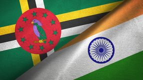 Dominica and India two flags textile cloth, fabric texture. Dominica and India flags together textile cloth, fabric texture stock image