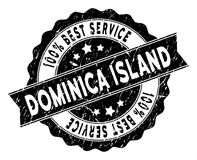Dominica Island Best Service Stamp con superficie sporca Immagini Stock Libere da Diritti