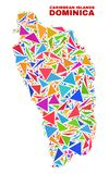 Dominica Island Map - mosaïque des triangles de couleur illustration de vecteur