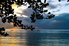 Dominica Island Sunset. Over Caribbean Sea stock images