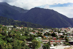 Dominica landscape. Houses and mountains in Dominica Royalty Free Stock Photos