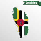 Dominica map with flag inside and ribbon Royalty Free Stock Photography